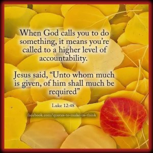 When God calls U todo something.it means U`re called to a higher level of accountability Luke 12.48